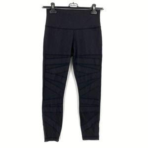 Lululemon High Times Black Leggings Sheer Stripes